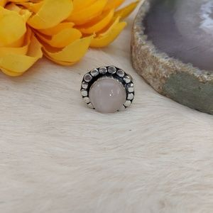 Rose Quartz Sterling Silver Ring Size 7